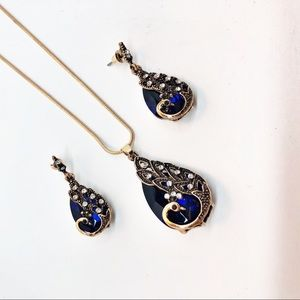 Jewelry - Peacock Crystal Blue Gold Necklace Earring